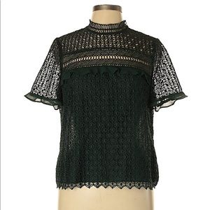 Zara green lace top size large